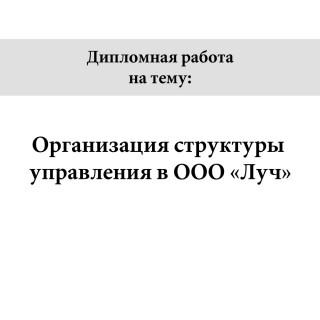 """Дипломная работа на тему """"Организация структуры управления в ООО «Луч»"""""""