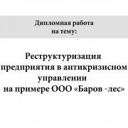 Реструктуризация предприятия в антикризисном управлении  (на примере ООО «Баров -лес»)