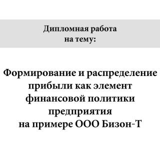 """Дипломная работа на тему """"Формирование и распределение прибыли как элемент финансовой политики предприятия на примере ООО Бизон-Т"""""""