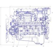Продольный разрез двигателя КамАЗ-740