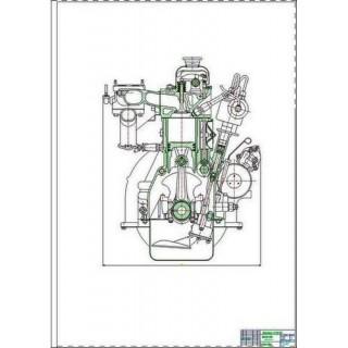 Двигатель ЗМЗ-402, поперечный и продольный разрезы