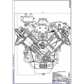 Двигатель ЯМЗ-236, поперечный разрез