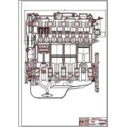 Двигатель ВАЗ-2108, продольный разрез