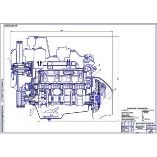 Двигатель ЗМЗ-53, продольный разрез