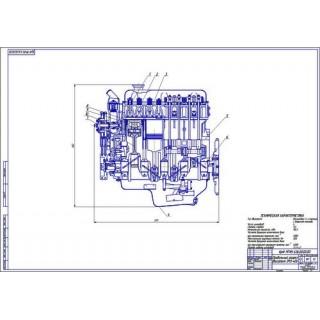 Двигатель ЗМЗ-406, продольный разрез
