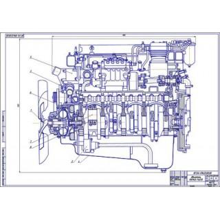 Двигатель КамАЗ, продольный разрез
