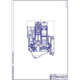 Двигатель Д-120, продольный разрез