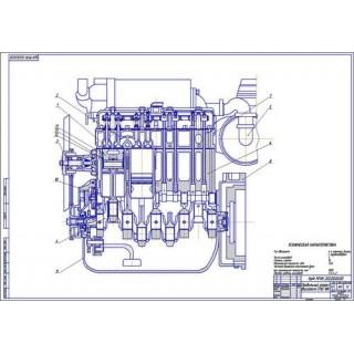 Двигатель СМД-18, продольный разрез