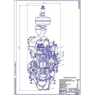 Двигатель СМД-18, поперечный разрез