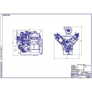 Двигатель СМД-62, поперечный и продольный разрезы