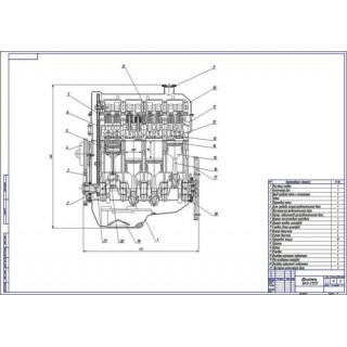 Двигатель ВАЗ-2121, продольный разрез