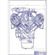 Двигатель ЯМЗ-238, поперечный разрез
