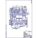 Двигатель ВАЗ-2110, продольный разрез