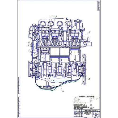 Чертёж двигателя ВАЗ в продольном разрезе cdw dwg Двигатель ВАЗ 2110 продольный разрез