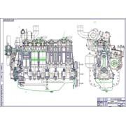 Двигатель Д-260, поперечный и продольный разрезы