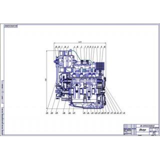 Двигатель ЗАЗ-968, продольный разрез