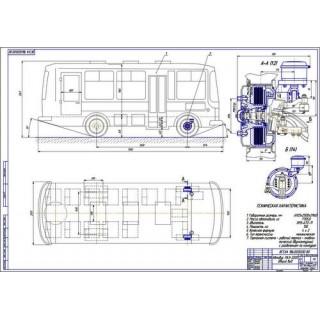Чертеж автобуса ПАЗ-3205 общий вид